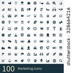 marketing 100 icons universal... | Shutterstock . vector #328664216