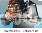 double exposure of hand showing ... | Shutterstock . vector #328707512