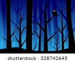 trees in the wood and an eagle... | Shutterstock .eps vector #328742645