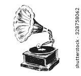 hand sketched phonograph | Shutterstock .eps vector #328758062
