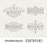 luxury logo and monogram line... | Shutterstock .eps vector #328782182