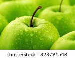 ripe green apples close up | Shutterstock . vector #328791548