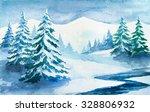 winter forest. watercolor... | Shutterstock . vector #328806932