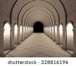 Dark Vintage Column Tunnel. 3d...