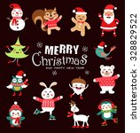 set of funny christmas... | Shutterstock .eps vector #328829522