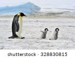 Stock photo emperor penguin with two chicks in antarctica 328830815