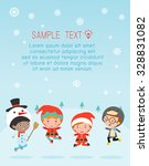 kids with christmas costumes ... | Shutterstock .eps vector #328831082