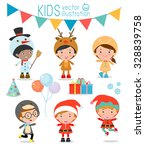 kids with christmas costumes... | Shutterstock .eps vector #328839758