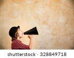 kid shouting through vintage... | Shutterstock . vector #328849718
