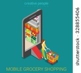 mobile grocery shopping e... | Shutterstock .eps vector #328855406