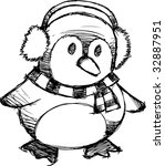 sketchy christmas penguin... | Shutterstock .eps vector #32887951