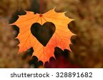 Autumn Leaves With Heart. Fall...