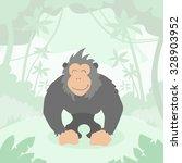 Cartoon Gorilla Green Jungle...