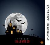 halloween moon haunted house... | Shutterstock .eps vector #328916726