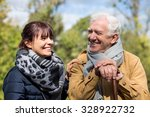 senior man and social worker... | Shutterstock . vector #328922732