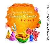 illustration of happy diwali... | Shutterstock .eps vector #328922762