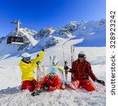 ski  winter  snow   family... | Shutterstock . vector #328923242