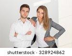 team of businessmen on a white... | Shutterstock . vector #328924862