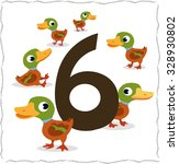 animal numbers for kids  6 duck. | Shutterstock .eps vector #328930802