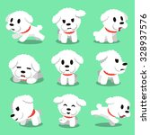 Stock vector cartoon character bichon frise dog poses 328937576