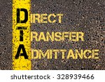 Small photo of Concept image of Business Acronym DTA as DIRECT TRANSFER ADMITTANCE written over road marking yellow paint line.
