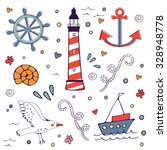 sea doodles. cute sea related... | Shutterstock .eps vector #328948778