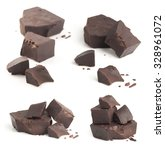 collection of broken chocolate... | Shutterstock . vector #328961072