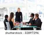 businesswoman interacting to... | Shutterstock . vector #32897296