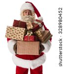santa claus holding pile of... | Shutterstock . vector #328980452