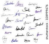 vector set of handwritten... | Shutterstock .eps vector #328999676
