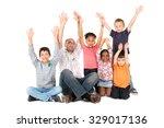 group of children with teacher... | Shutterstock . vector #329017136