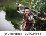 beautiful female warrior in...   Shutterstock . vector #329024966