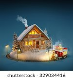 decorated log house with... | Shutterstock . vector #329034416