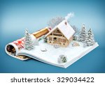 Cute Log House On A Page Of...