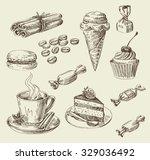 vector hand drawn food sketch... | Shutterstock .eps vector #329036492