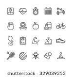 fytness health outline icon set.... | Shutterstock .eps vector #329039252