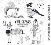 Set Of Christmas Animals. Pola...