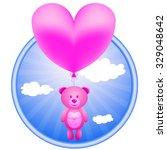 pink bear flying on a balloon... | Shutterstock .eps vector #329048642
