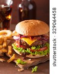 bacon cheese burger with beef... | Shutterstock . vector #329064458