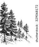 pine forest  winter mountain... | Shutterstock .eps vector #329068172