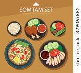 papaya salad  som tam thai food ... | Shutterstock .eps vector #329069882