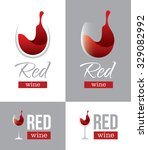 abstract red wine logo with... | Shutterstock .eps vector #329082992