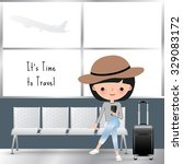 travelling woman cartoon... | Shutterstock .eps vector #329083172