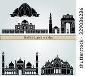 delhi landmarks and monuments... | Shutterstock .eps vector #329086286