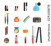 beauty and makeup flat icons   Shutterstock .eps vector #329100878