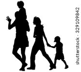 silhouettes family on white... | Shutterstock .eps vector #329109842