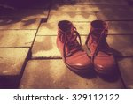 red shoe on block vintage effect | Shutterstock . vector #329112122
