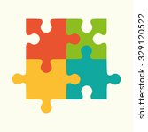 puzzles  flat puzzles  logo ... | Shutterstock .eps vector #329120522