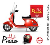 delivery scooter for pizza... | Shutterstock .eps vector #329127182