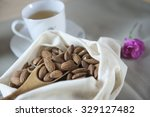 almonds are tasty  healthy and... | Shutterstock . vector #329127482